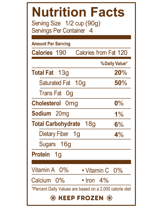 Coffee Chip Gelato Nutrition Facts