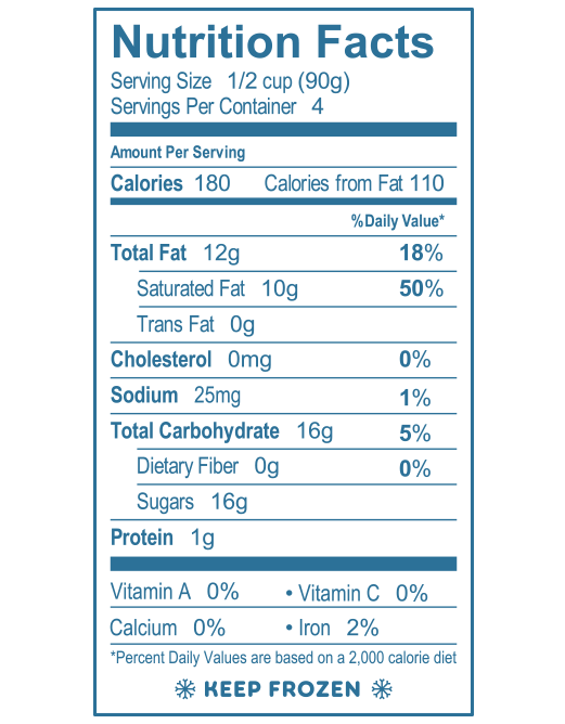 Vanilla Gelato Nutrition Facts